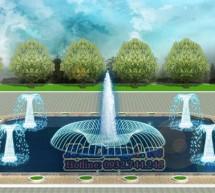 Mẫu đài phun nước hồ hình vuông