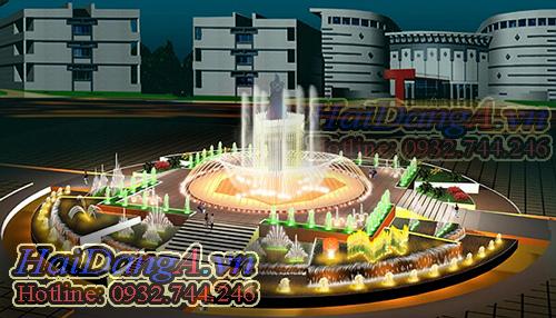 Mẫu đài phun nước quy mô lớn phù hợp cho quảng trường, bùng binh, trung tâm thương mại, vòng xoay, khu chung cư...