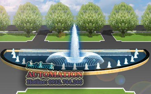 Thiết kế đài phun nước nghệ thuật hồ nước hình bán nguyệt