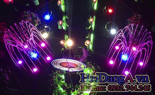 Đài phun nước nghệ thuật hồ nước chùa pháp hoa - đèn màu tím