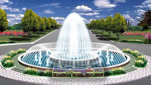 Mẫu đài phun nước hồ tròn với sự kết hợp các đầu phun HDF và đầu phun tia
