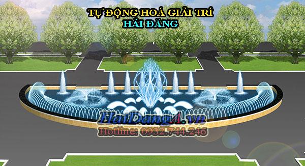 Hệ thống phun nước được bố trí các đầu phun tia, đầu phun quạt nước, đầu phun cây thông, đầu phun múa xoay tròn