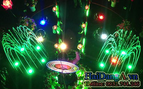 Hệ thống đài phun nước nghệ thuật với đèn LED đổi màu sinh động