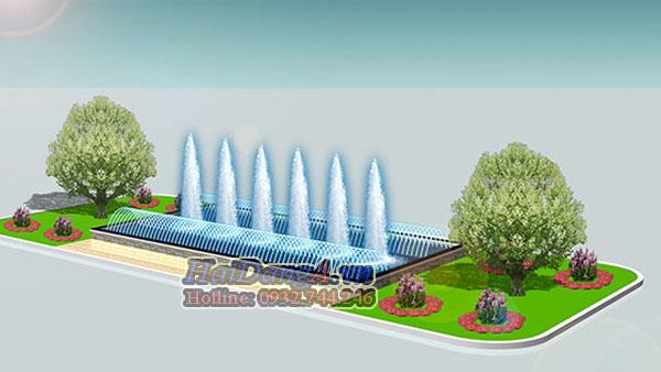 Đài phun nước hồ hình chữ nhật với 2 dãy đầu phun tia phun chụm ngoài vào và dãy đầu phun tạo hình cây thông HDC ở trung tâm