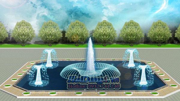 """Hồ phun nước hình vuông và cụm vòi phun tia nước hình tròn mang ý nghĩ """"Vuông - Tròn"""""""