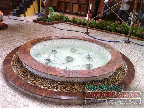 Hình ảnh hồ phun nước nghệ thuật sau khi hoàn thiện.