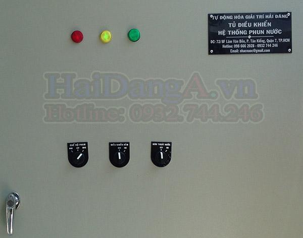 Mặt trước tủ điều khiển hệ thống nhạc nươc, đài phun nước