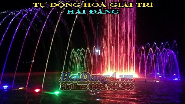 Hệ thống phun nước nghệ thuật tại chùa Tịnh Thất quan âm nhìn vào ban đêm