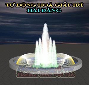 Vòng tròn ring phun nước tạo thành trùm kết hợp với 6 cột nước hình cây thông nhỏ và một cây thông lớn ở chính giữa tạo nên vẽ đẹp hùng vĩ cho đài phun