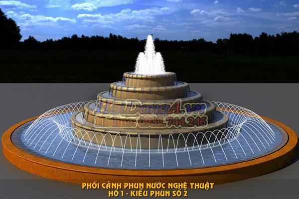 Kiểu đài phun nước hồ nước hình tròn có tháp chảy tràn ở giữa và các đầu phun tia nước xung quanh