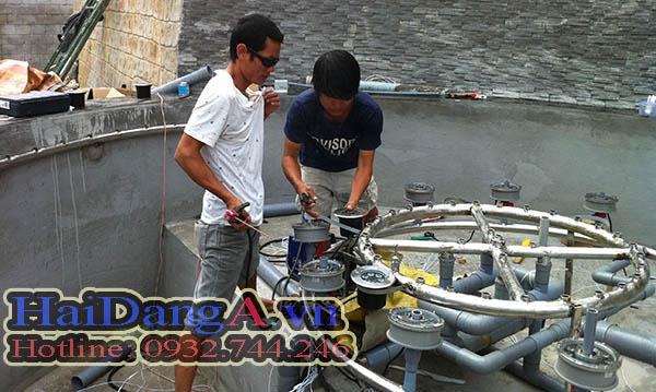 Lắp đặt vòi phun nước, hệ thống đường ống vào hồ nước