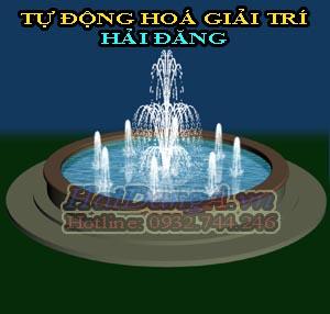 Cột nước 3 tầng chính giữa ứng với đài phun kết hợp với 8 cột nước nhỏ để tạo nên một hồ nước sôi động