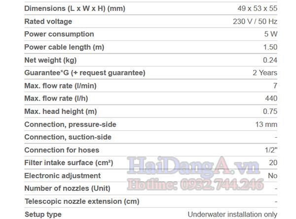 Đặc tính kỹ thuật của bơm chìm chuyên dụng cho đài phun nước