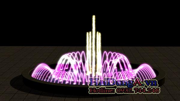 Đài phun nước hồ hình ô van với đèn LED â nước nhiều màu sắc sinh động