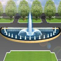 Mẫu đài phun nước hồ hình bán nguyệt