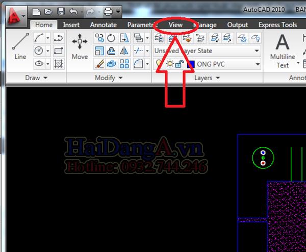 Vào mục View để lựa chọn bảng điều chỉnh con trỏ trong Cad 2010