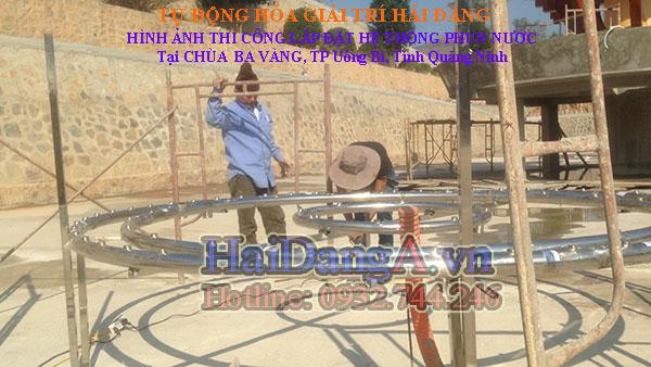 Bắt đầu lắp đặt hệ thống đường ống vào hồ nước