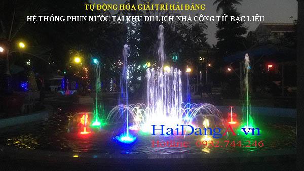 Hệ thống phun nước trong cafe khu du lịch nhà công tử Bạc Liêu