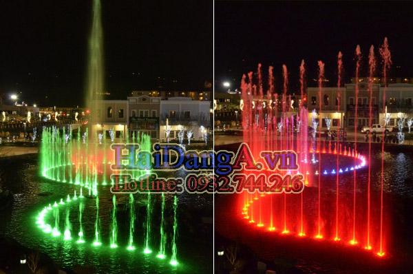 Đèn LED âm nước đổi nhiều màu sinh động đẹp mắt cho hệ thống phun nước