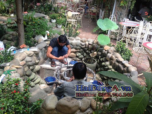 Thi công lắp đặt hệ thống phun nước tại cafe Contriside