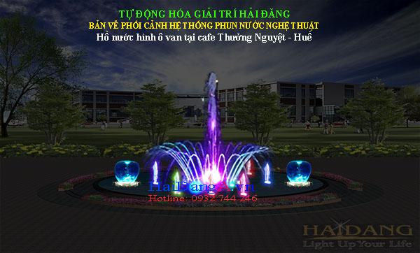 Bản vẽ phối cảnh thiết kế nhạc nước, đài phun nước Cafe Thưởng Nguyệt - Huế