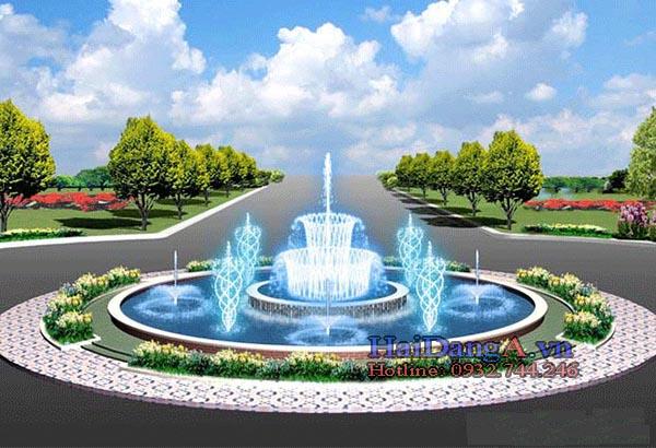 Đài phun nước tại vòng xoay với các đầu phun xoay tròn và đầu phun hoa loa kèn phun tia