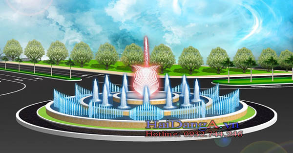 Đài phun nước tại vòng xuyến quy mô lớn