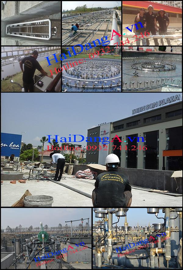 Nhân viên Hải Đăng thi công lắp đặt nhạc nước đài phun nước