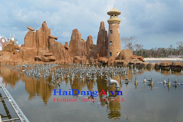 Các đầu phun nước của hệ thống nhạc nước Vinpearl Land Phú Quốc