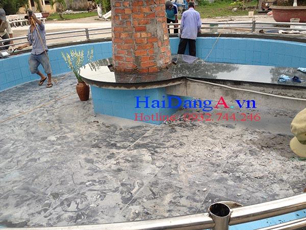 Hồ nước nhà thờ Bình Châu trước khi lắp đặt đài phun nước