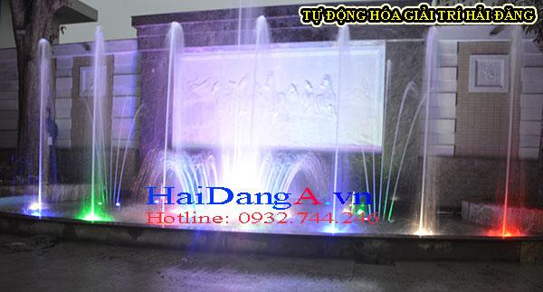 Hướng nhìn chính diện của hệ thống đài phun nước phun theo nhạc