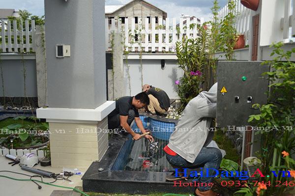 Thi công lắp đặt đài phun nước tại sân vườn nhà chị Thủy Quận 9 TPHCM