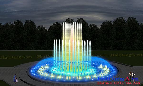 Mẫu đài phun nước hồ tròn với đầu phun tia nước sủi bọt và cột đứng