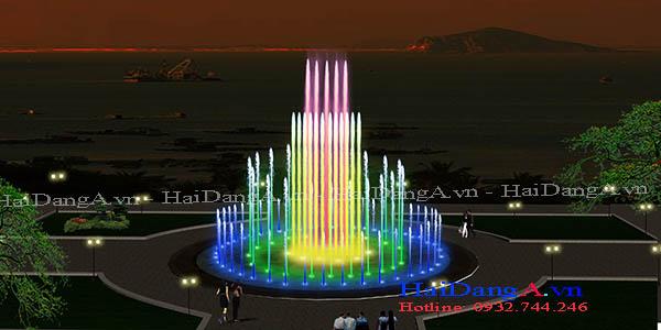 Mẫu đài phun nước hồ tròn với các cột nước phun thẳng đứng