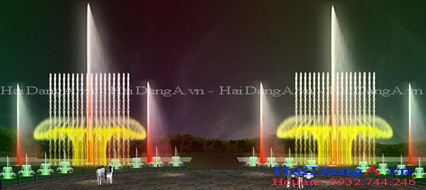 Phối cảnh hệ thống nhạc nước với đầu phun xoay lắc cột nước thẳng đứng và chùm hoa