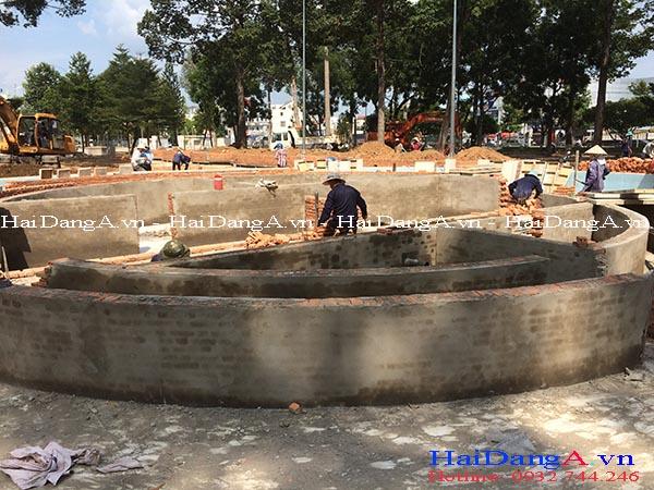 Thi công xây dựng hồ nước và phần phun nước âm sàn