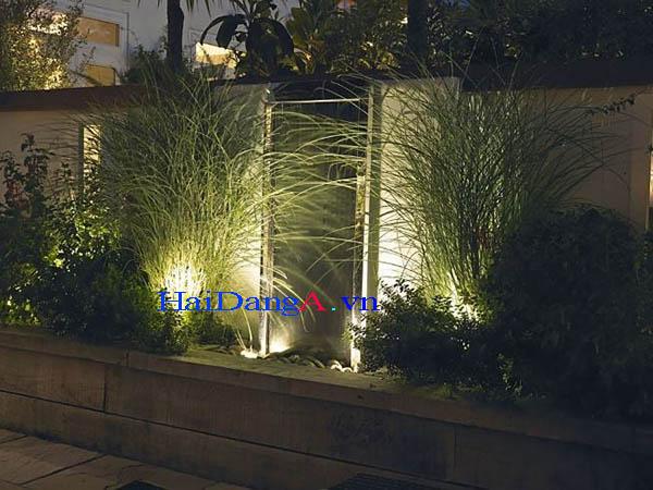 Đèn LED âm đất âm sàn chiếu cây xanh màu vàng trắng