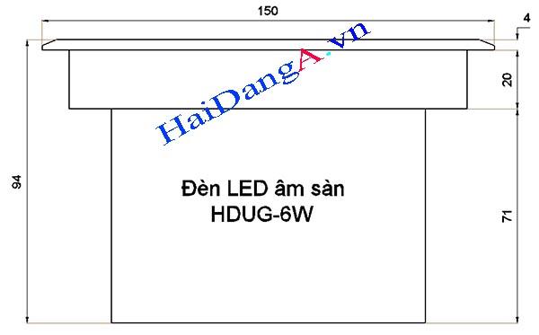 Bản vẽ kích thước đèn LED âm sàn HDUG-6W