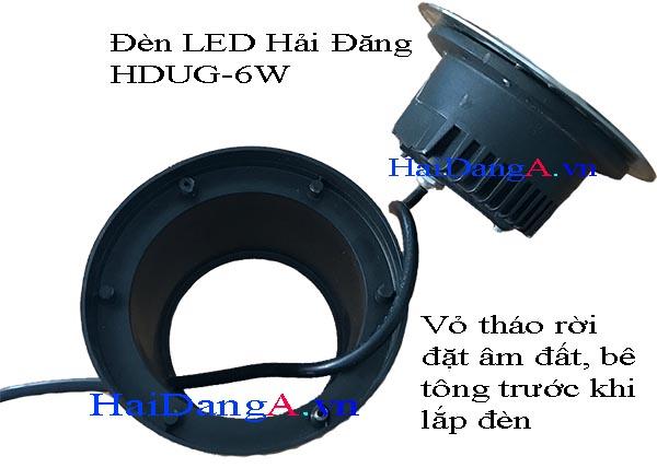 Vỏ đèn LED âm đất tháo rời để lắp âm trong sàn trước khi lắp đèn