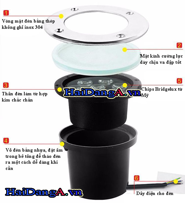 Thành phần cấu tạo của đèn LED âm sàn HDUG 2