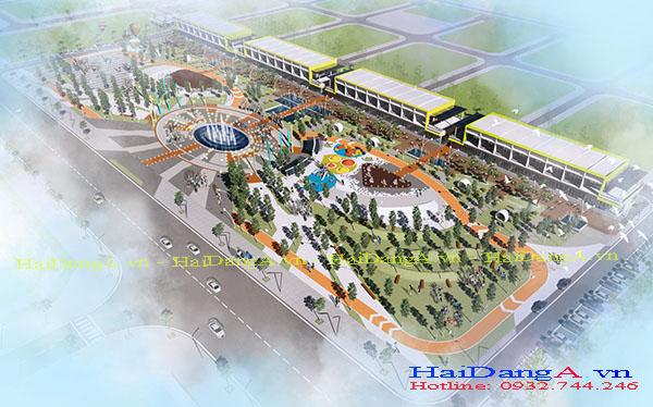 Phối cảnh tổng quan toàn bộ quảng trường trung tâm VSIP Nghệ An