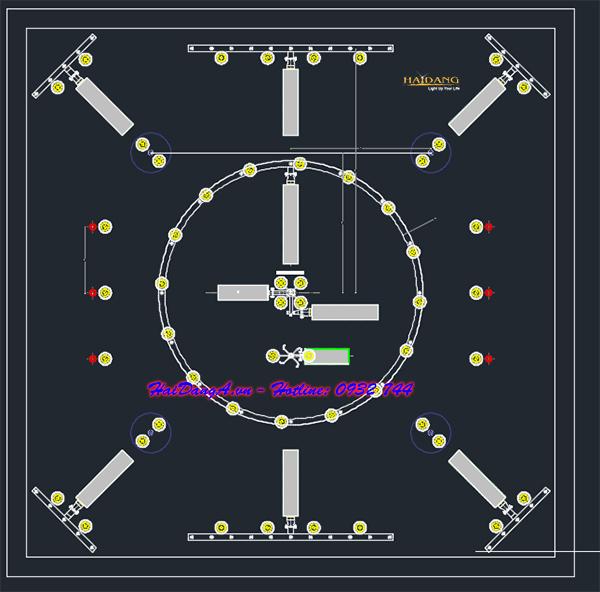 Bản vẽ CAD mặt bằng bố trí hệ thống đài phun nước