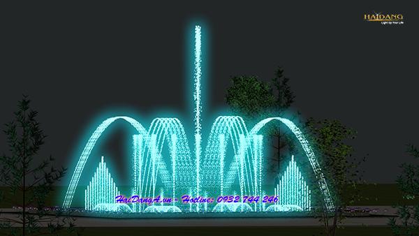 Hình ảnh thiết kế hệ thống nhạc nước hồ vuông