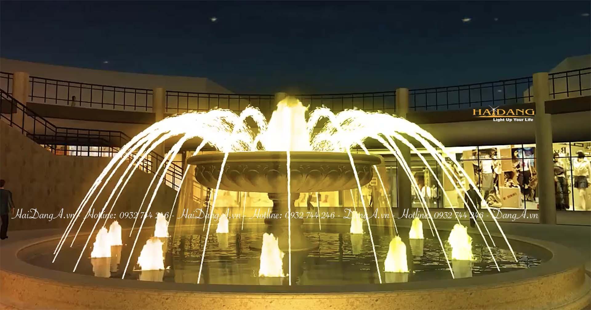 Mẫu đài phun nước tháp tròn tràn với các vòi phun nước