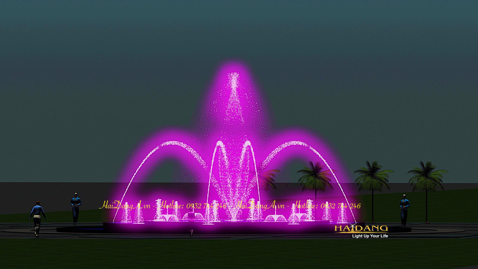 Hệ thống nhạc nước đài phun nước nghệ thuật do Hải Đăng thiết kế với vòi phun hình cầu vồng sủi bọt hoa loa kèn và biến đổi đa chức năng tại tâm
