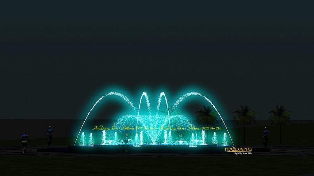 Mẫu đài phun nước nhạc nước hồ nước hình tròn