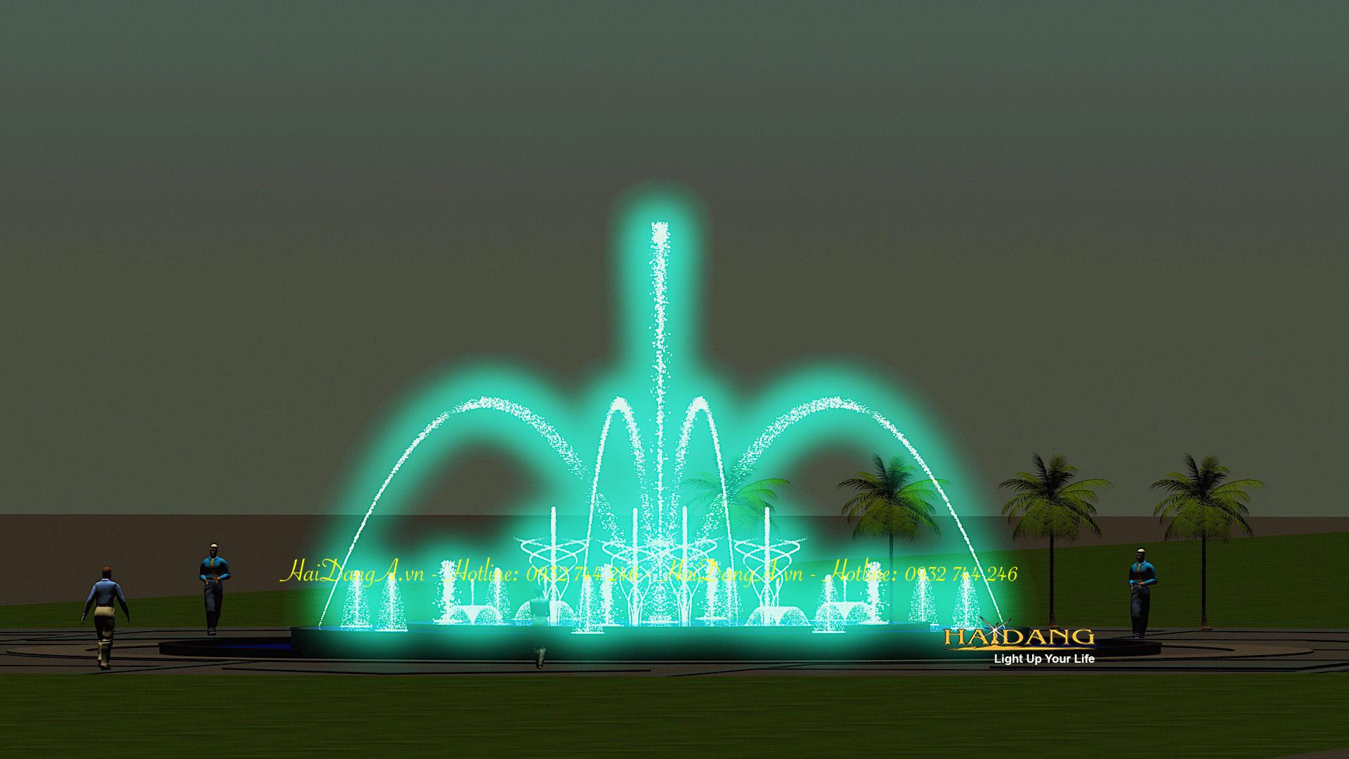 Hệ thống nhạc nước đài phun nước nghệ thuật do Hải Đăng thiết kế với vòi phun hình cầu vồng sủi bọt hoa loa kèn và cột nước thẳng đứng