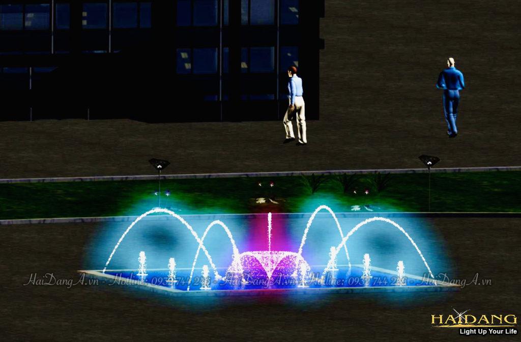 Mẫu đài phun nước nghệ thuật nhạc nước mini hình vuông