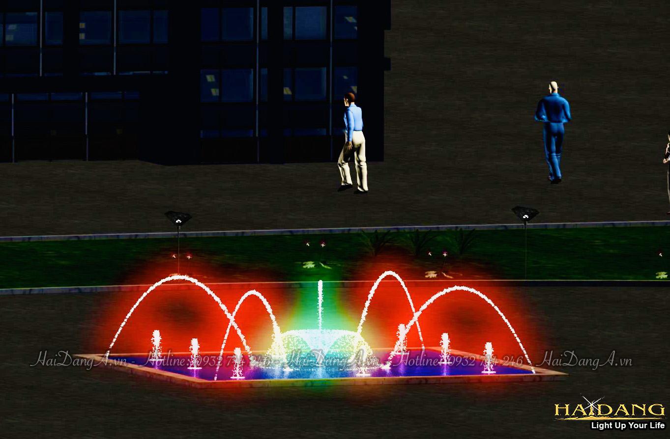 Mẫu hồ phun nước nghệ thuật với các vòi phun tia nước đơn cầu vồng Hoa Loa Kèn Sủi bọt Foam hoặc Cây thông