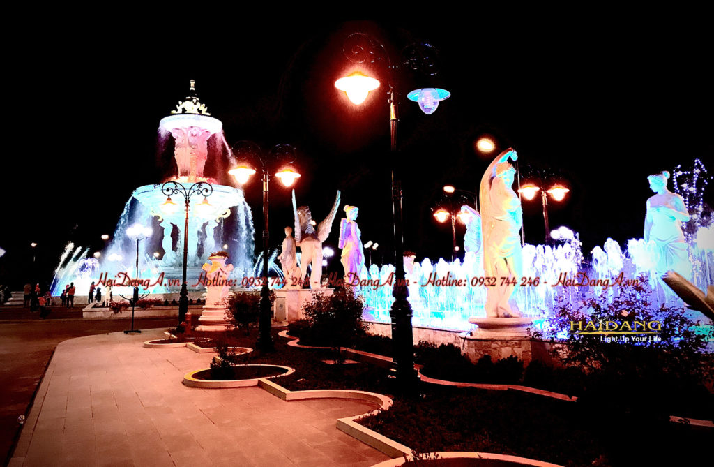 Toàn cảnh hệ thống nhạc nước tượng đài tại khu đô thị Ninh Hiệp Gia Lâm Hà Nội